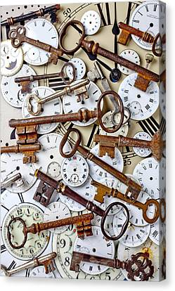 Old Keys And Watch Dails Canvas Print by Garry Gay