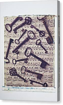 Old Keys On Sheet Music Canvas Print by Garry Gay