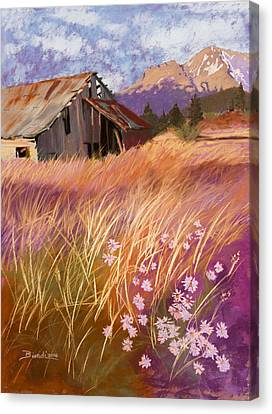 Old Land Trust Barn Mount Shasta Canvas Print by Janet Biondi