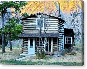 Old Log Cabin In Yellowstone Canvas Print by Karon Melillo DeVega