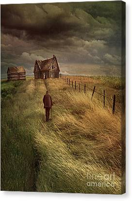 Old Man Walking Up A Path Of Tall Grass With Abandoned House In  Canvas Print by Sandra Cunningham
