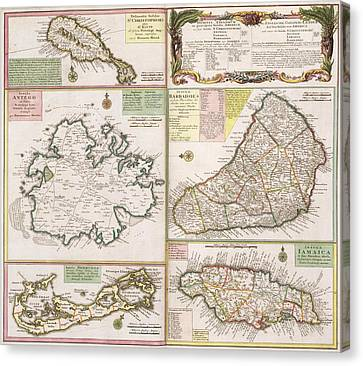 Old Map Of English Colonies In The Caribbean Canvas Print