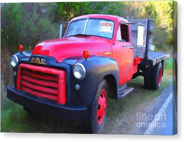 Old Nostalgic American Gmc Flatbed Truck . 7d9821 . Photo Art Canvas Print by Wingsdomain Art and Photography
