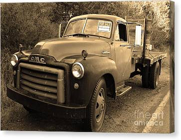 Old Nostalgic American Gmc Flatbed Truck . 7d9821 . Sepia Canvas Print by Wingsdomain Art and Photography