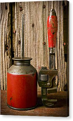 Old Oil Can And Wrench Canvas Print by Garry Gay
