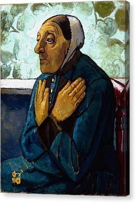 Old Peasant Woman Canvas Print by Paula Modersohn-Becker