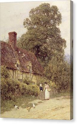 Country Cottage Canvas Print - Old Post Office Brook Near Witley Surrey by Helen Allingham