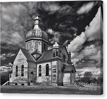 Byzantine Canvas Print - Old Prairie Church And Storm Front by Royce Howland