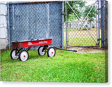 Canvas Print featuring the photograph Old Radio Flyer Wagon by Ester  Rogers