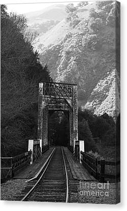 Old Railroad Bridge At Near Historic Niles District In California . 7d10745 . Bw Canvas Print by Wingsdomain Art and Photography