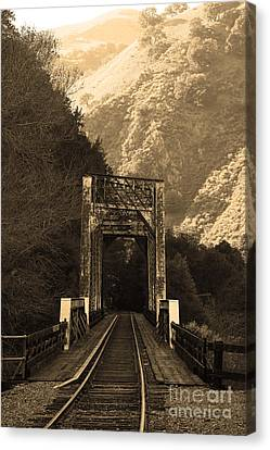 Old Railroad Bridge At Near Historic Niles District In California . 7d10745 . Sepia Canvas Print by Wingsdomain Art and Photography