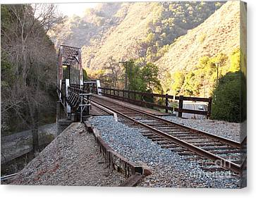 Old Railroad Bridge At Near Historic Niles District In California . 7d10756 Canvas Print by Wingsdomain Art and Photography