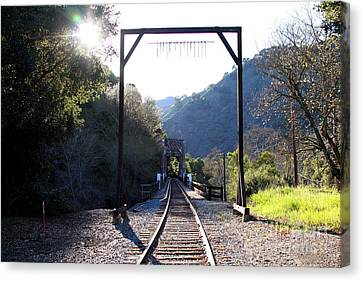 Old Railroad Bridge At Near Historic Niles District In California . 7d12747 Canvas Print by Wingsdomain Art and Photography
