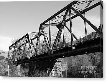Old Railroad Bridge At Union City Limits Near Historic Niles District In California . 7d10736 . Bw Canvas Print by Wingsdomain Art and Photography