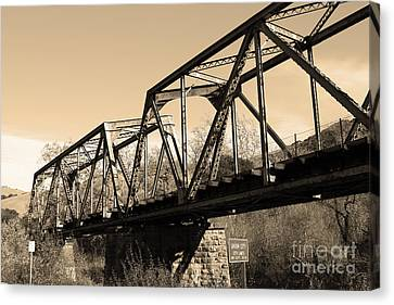 Old Railroad Bridge At Union City Limits Near Historic Niles District In California . 7d10736 . Sepi Canvas Print by Wingsdomain Art and Photography