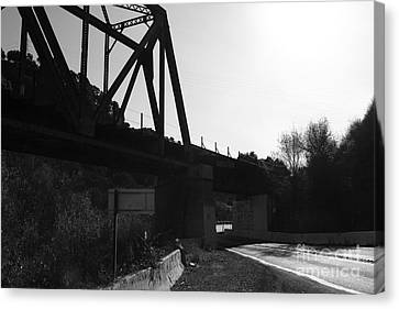 Old Railroad Bridge At Union City Limits Near Historic Niles District In California . 7d10742 . Bw Canvas Print by Wingsdomain Art and Photography