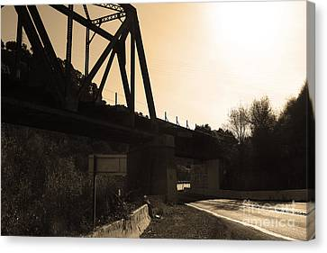 Old Railroad Bridge At Union City Limits Near Historic Niles District In California . 7d10742 .sepia Canvas Print by Wingsdomain Art and Photography