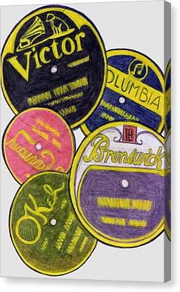 Disc Canvas Print - Old Record Labels by Mel Thompson