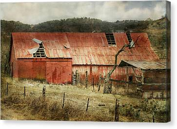 Canvas Print featuring the photograph Old Red Barn by Joan Bertucci