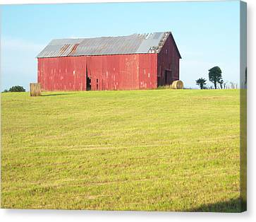 Old Red Barn Canvas Print by Judy Groves