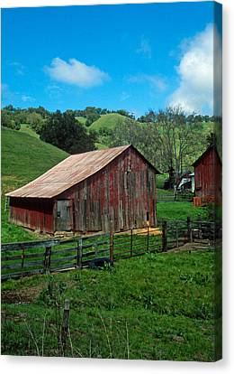 Old Red Barn Canvas Print by Kathy Yates