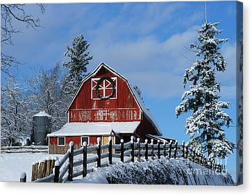 Old Red Barn On Mcmillian Canvas Print