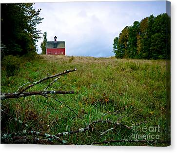 Old Red Barn On The Hill Canvas Print by Edward Fielding