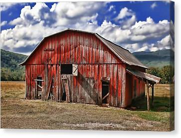 Canvas Print featuring the photograph Old Red Barn by Renee Hardison