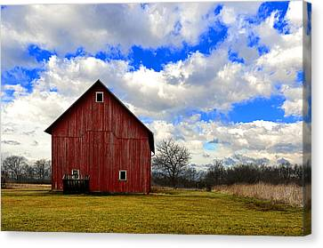 Old Red Barn Canvas Print by Steven Jones