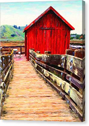 Old Red Shack Canvas Print by Wingsdomain Art and Photography