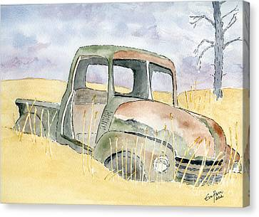 Canvas Print featuring the painting Old Rusty Truck by Eva Ason