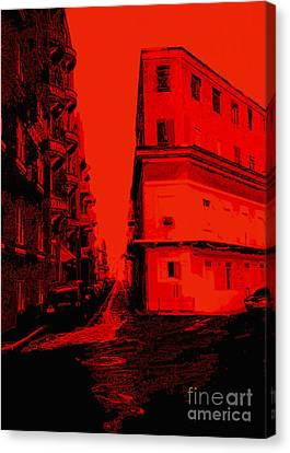 Old San Juan In Red And Black Canvas Print by Ann Powell