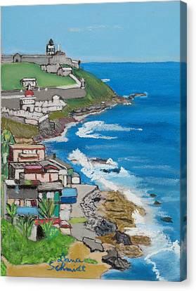 Old San Juan Seacoast In Puerto Rico Canvas Print by Dana Schmidt