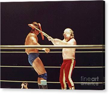 Canvas Print featuring the photograph Old School Wrestling Chair Shot To The Head On Don Muraco By Moondog Mayne by Jim Fitzpatrick