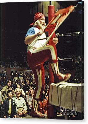Canvas Print featuring the photograph Old School Wrestling From The Cow Palace With Moondog Mayne by Jim Fitzpatrick