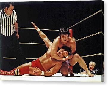 Canvas Print featuring the photograph Old School Wrestling Headlock By Dean Ho On Don Muraco by Jim Fitzpatrick