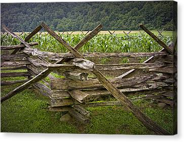 Old Split Rail Fence On A Farm In The Smokey Mountains No.696 Canvas Print by Randall Nyhof