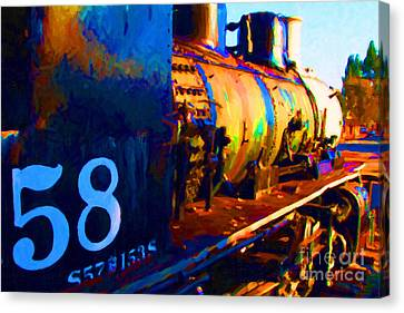 Old Steam Locomotive Engine 1258 . Painterly Canvas Print by Wingsdomain Art and Photography
