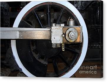 Old Steam Locomotive Engine 5 . The Little Buttercup . Train Wheel . 7d12916 Canvas Print by Wingsdomain Art and Photography
