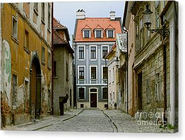 Canvas Print featuring the photograph Old Street In Bratislava by Les Palenik