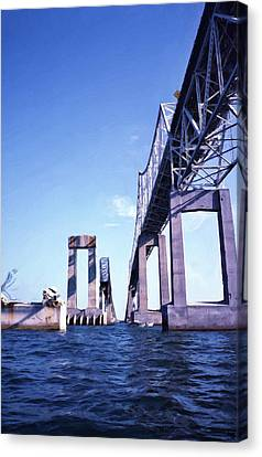 Florida Bridge Canvas Print - Old Sunshine Skyway Bridge by Richard Rizzo