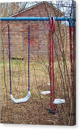 Old Swing Set-2 Canvas Print by Todd Sherlock