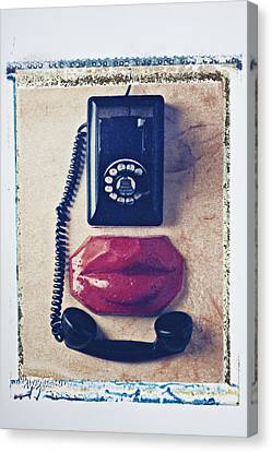 Old Telephone And Red Lips Canvas Print by Garry Gay