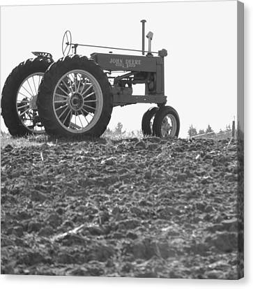 Old Tractor II In Black-and-white Canvas Print