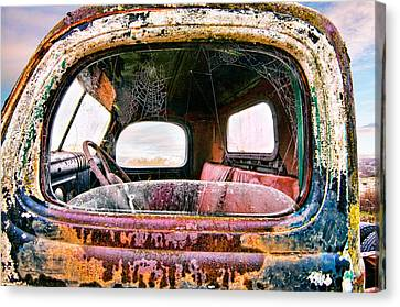 Old Truck And Spider Webs Canvas Print by Tim Fleming