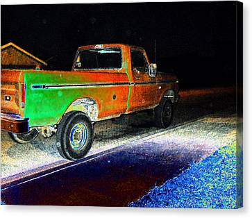 Old Truck At Night Canvas Print