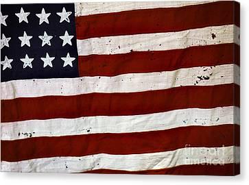 Old Usa Flag Canvas Print by Carlos Caetano