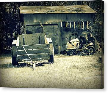 Canvas Print featuring the photograph Old Wagon And Old Shed by Ester  Rogers
