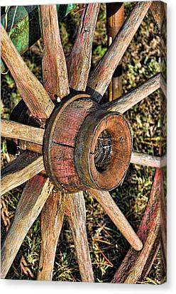 Old Wagon Wheel Canvas Print by Jan Amiss Photography