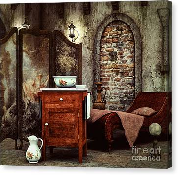 Dressing Room Canvas Print - Old Washstand by Jutta Maria Pusl